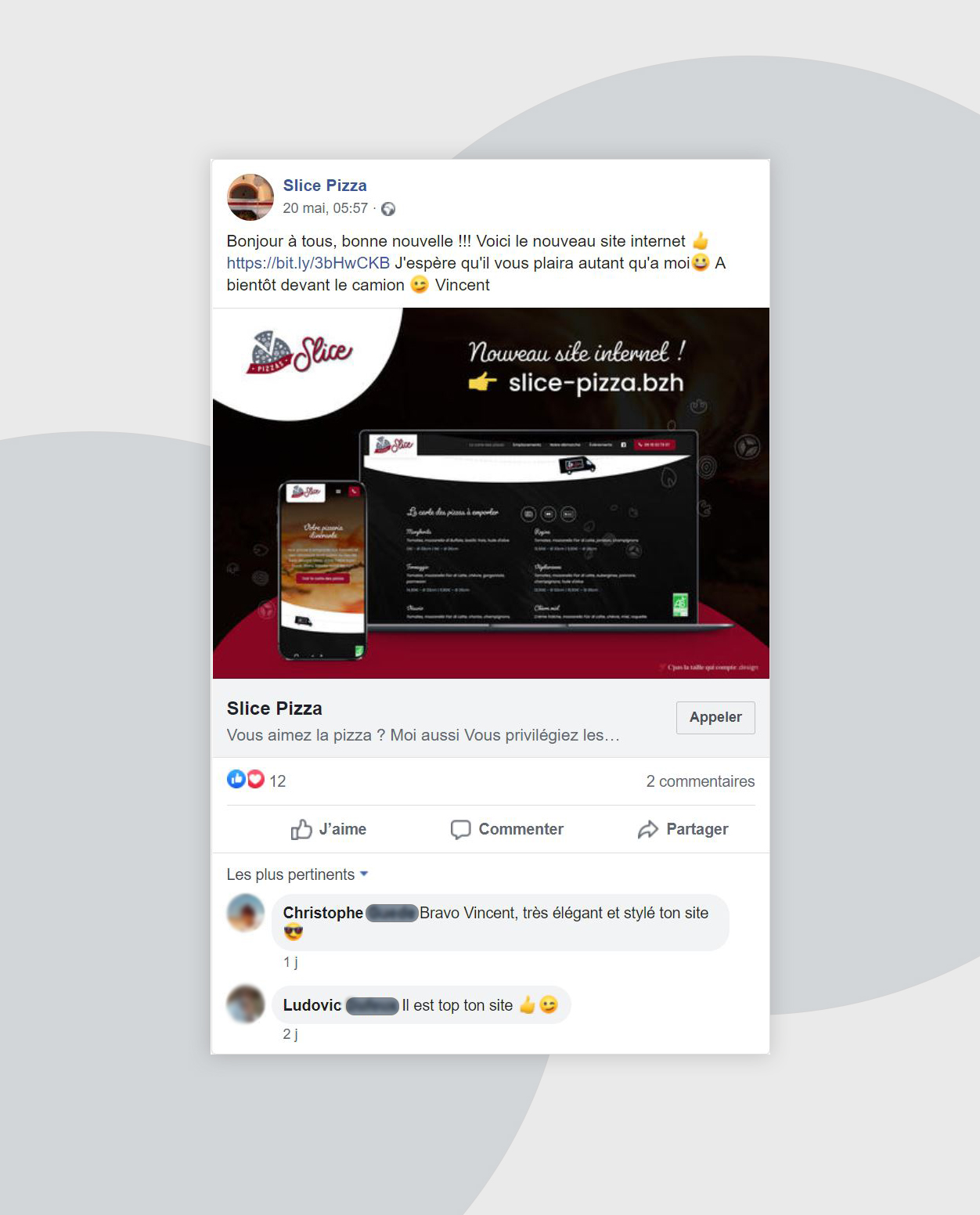 Slice Pizzas post Facebook